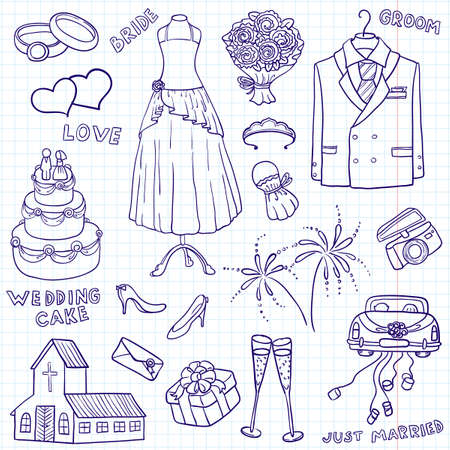 engagement cartoon: Wedding doodle illustration