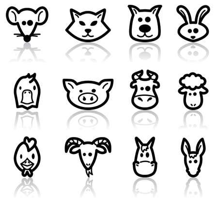 rata caricatura: Ilustraci�n de conjunto, de animales dom�sticos