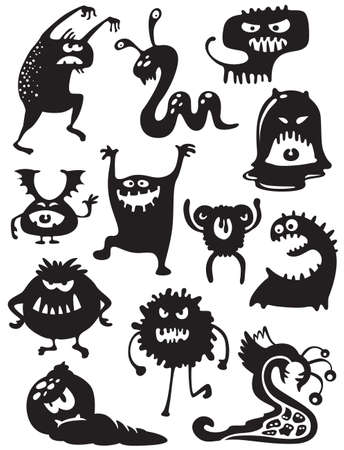 bacteria cartoon: Silhouettes of cute doodle monsters-bacteria