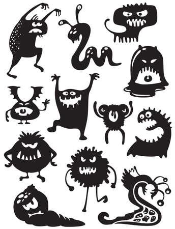 Siluetas de cute garabatear monstruos-bacterias