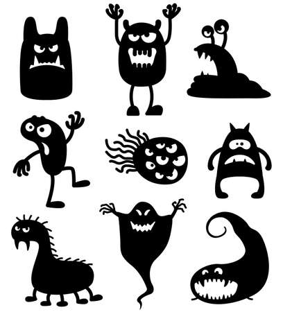 halloween cartoon: Silhouettes of cute doodle monsters-bacteria