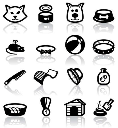veterinary symbol: Pets (domestic) animals set Illustration