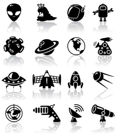 espaço: Space (UFO and aliens) icons set