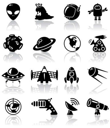 cartoon rocket: Space (UFO and aliens) icons set
