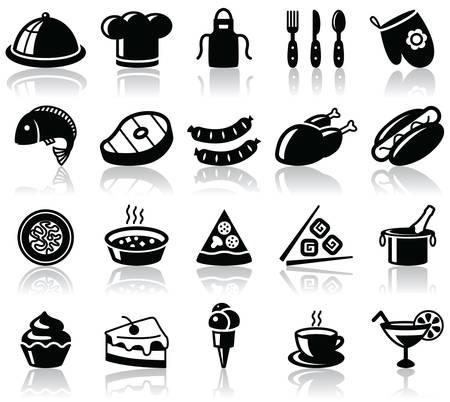 chinese fast food: Conjunto de iconos de negro de cocina y alimentos