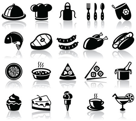 Kitchen and food black icons set Vector