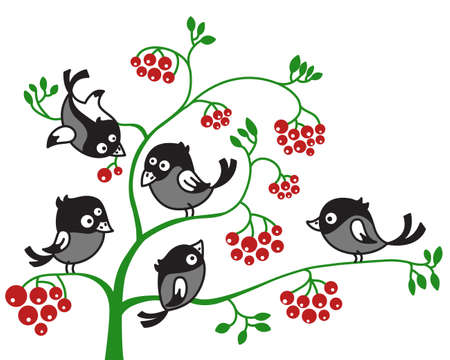 the magpie: illustration of birds on a branch