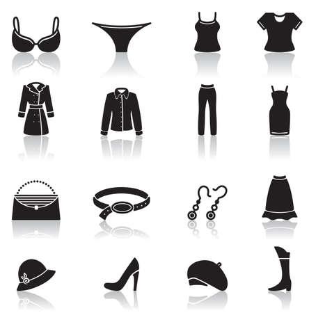 aretes: Conjunto de iconos de ropa femenina y accesorios