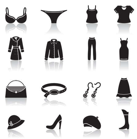 earring: Icons set of female clothes and accessory Illustration
