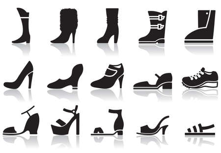 Set of icons of womens shoes Illustration
