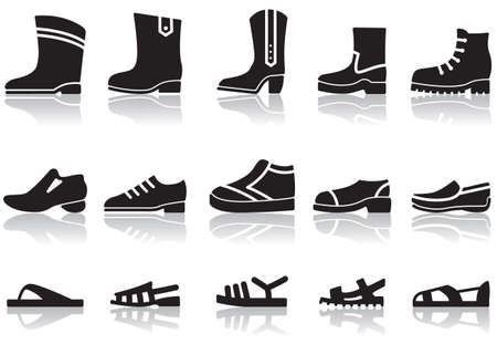 Set of icons of mens shoes