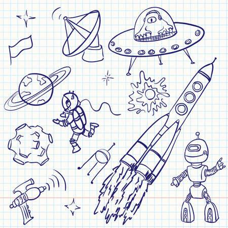 radar gun: Espacio (UFO y extranjeros) doodles conjunto  Vectores