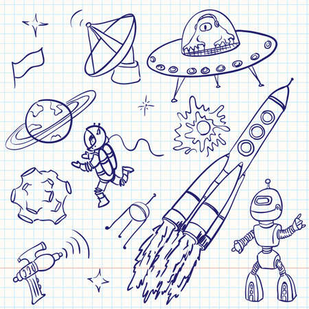 astronaut in space: Space (UFO and aliens) doodles set