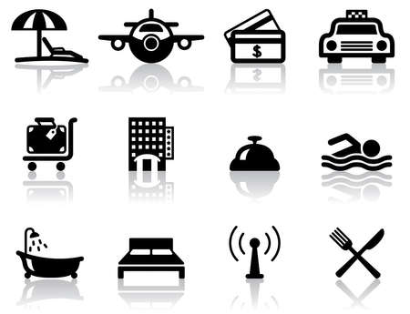 swimming pool home: Hotel and travel black icons set