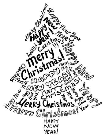 phrases: Silhouette Christmas tree, consisting of text greetings