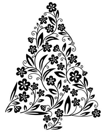 arbre     ? � feuillage persistant: Arbre de No�l floral cute silhouette