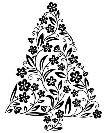 Cute floral Christmas tree silhouette Stock Vector - 8234080