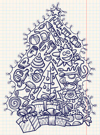 cute doodle: Cute doodle christmas tree and gifts