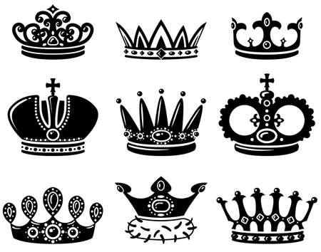 diadema: Establezca con lindo siluetas de corona Vectores