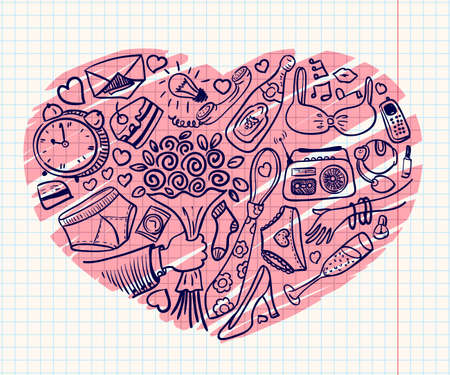 Romantic and dating heart doodles Vector