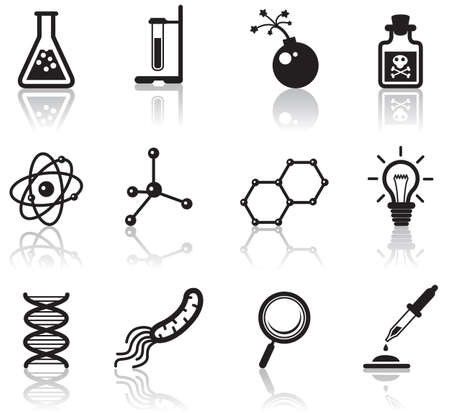 Black minimalistic science icons set Vector