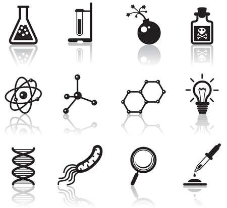 Conjunto de iconos de ciencia minimalista negro