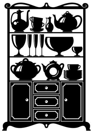 classic furniture: Silhouette of a cabinet with kitchen utensils