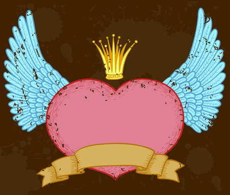 Winged heart banner with crown Vector