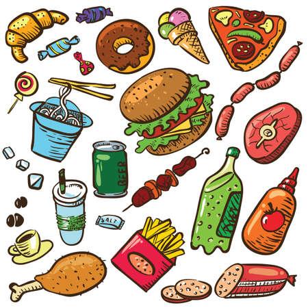eating fast food: Con productos de comida r�pida Vectores