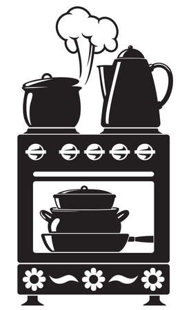 Silhouette of the kitchenware on the kitchen-range
