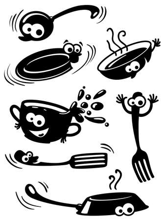 stainless steel kitchen: Silhouette of cute funny kitchenware with eyes