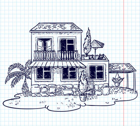 Sketchy doodle hand-drawn house (cottage) Stock Vector - 8671480