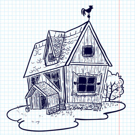 house sketch: Sketchy doodle hand-drawn house (cottage)