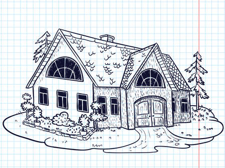 Sketchy doodle hand-drawn house (cottage) Vector