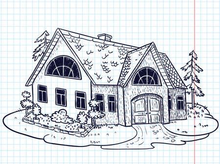 modern house sketch: Sketchy doodle hand-drawn house (cottage)