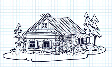 Sketchy hand-drawn house (Russian hut) Vector
