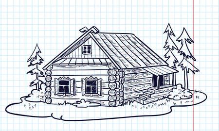Skizzenhaften handgezeichneten Haus (russische Hut) Vektorgrafik