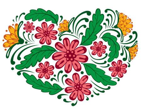 Floral heart shape, illustration Vector