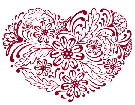 single color image: Floral heart shape (silhouette), illustration