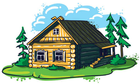 Sketchy hand-drawn house (Russian hut) Stock Vector - 8789969