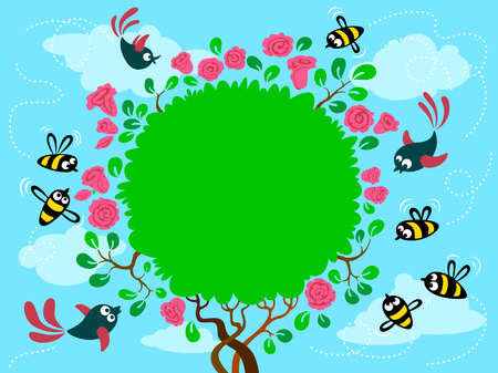 outline bird: Cute frame with birds and bee