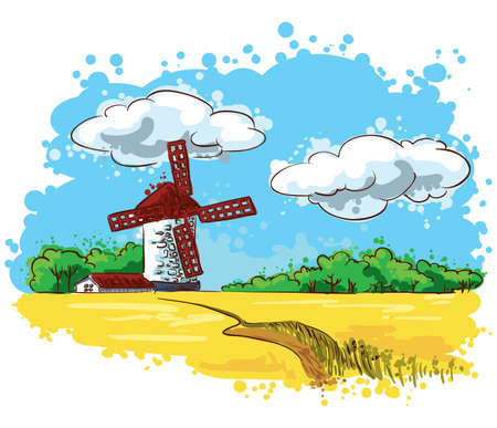 windmills: Summer Landscape with a mill on the field Illustration