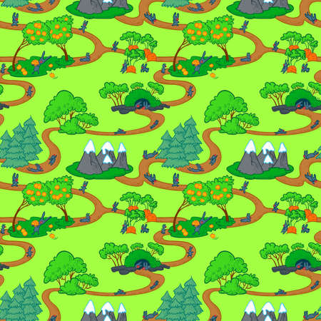 forest road: Cute seamless with rabbits map