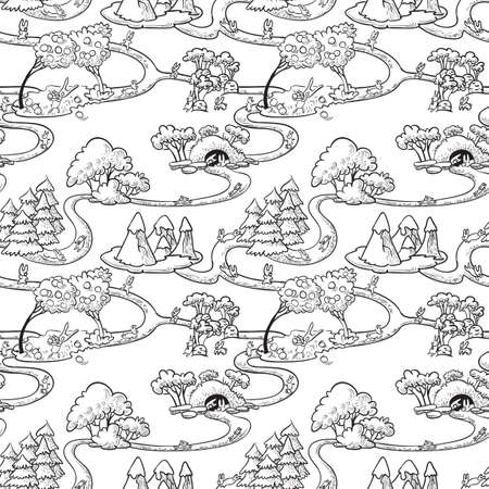 Cute hand-drawn doodle seamless with rabbits Vector