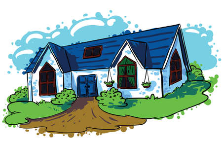 modern huis: Schetsmatig doodle handgetekende huis (cottage)