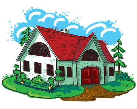 Schetsmatig doodle handgetekende huis (cottage)