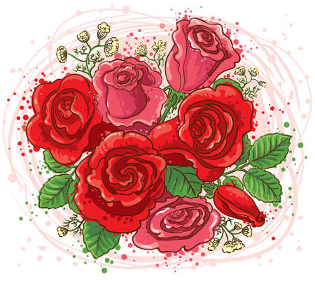 Bouquet of red and pink roses Stock Vector - 8895853