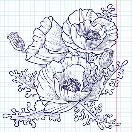 Bouquet de pavots rouges (doodle version)