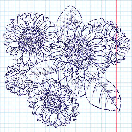 Doodle Bouquet of Sunflowers Stock Vector - 8985735