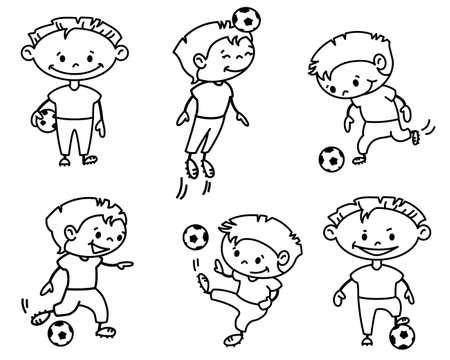 Footballer (soccer player) set, doodle version Vector